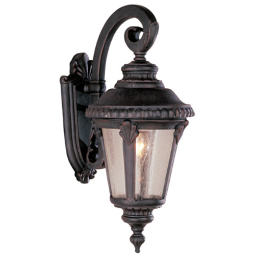"""Commons 19"""" Outdoor Rust Tuscan Wall Lantern with Braided Crown Trim and Leaf Window Accents"""