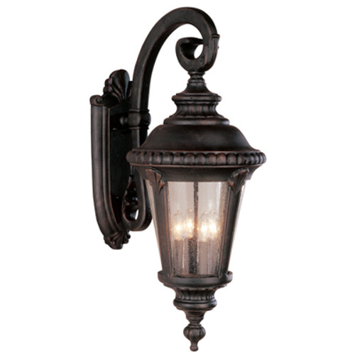 """Commons 29"""" Outdoor Rust Tuscan Wall Lantern with Braided Crown Trim and Leaf Window Accents"""