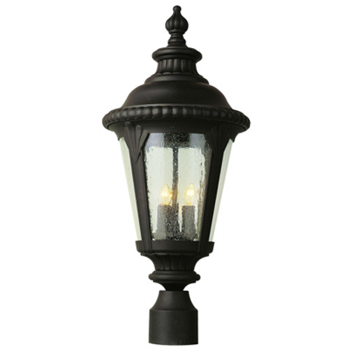 """Commons 24"""" Outdoor Black Tuscan Postmount Lantern with Braided Crown Trim and Leaf Window Accents"""