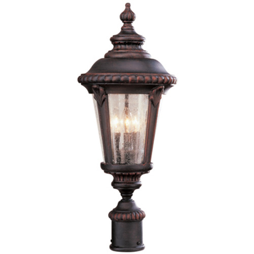 """Commons 24"""" Outdoor Rust Tuscan Postmount Lantern with Braided Crown Trim and Leaf Window Accents"""