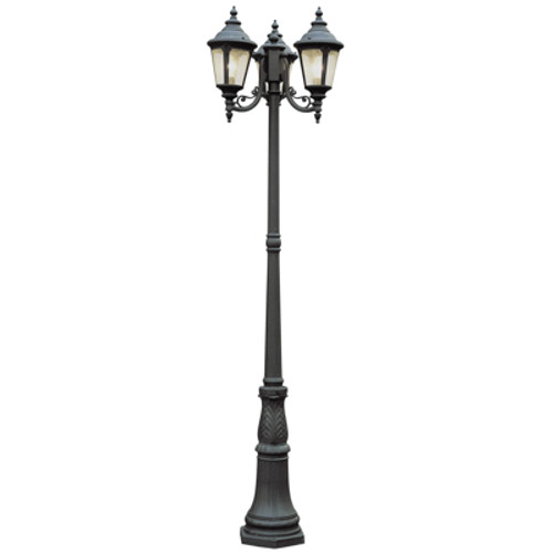 "Commons 84.5"" Outdoor Black Tuscan Pole Light with Braided Crown Trim and Leaf Window Accents"