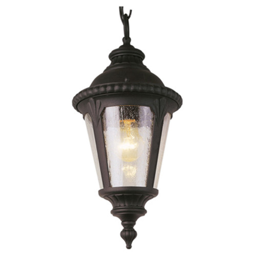 """Commons 17"""" Outdoor Black Tuscan Hanging Lantern with Braided Crown Trim and Leaf Window Accents"""