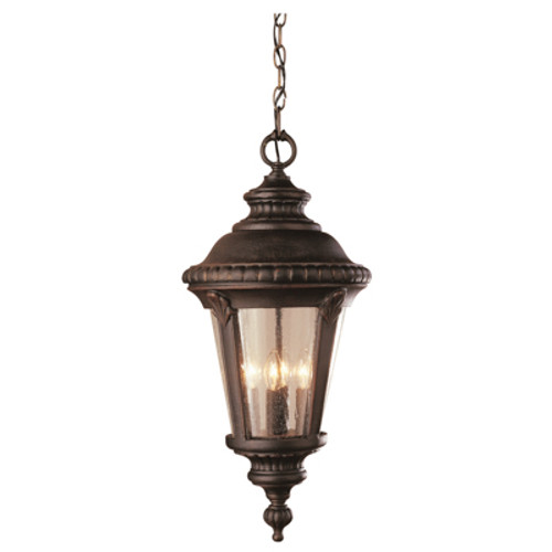 """Commons 17"""" Outdoor Rust Tuscan Hanging Lantern with Braided Crown Trim and Leaf Window Accents"""