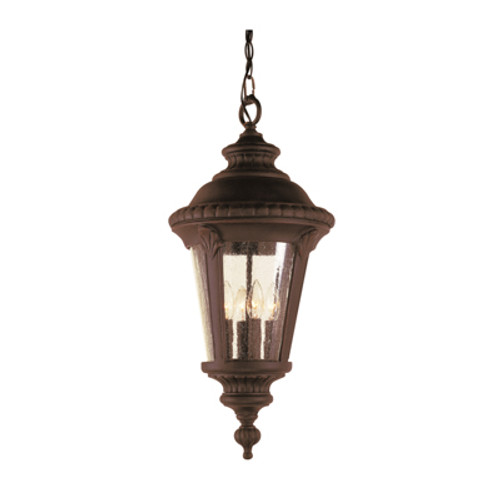 """Commons 22"""" Outdoor Black Tuscan Hanging Lantern with Braided Crown Trim and Leaf Window Accents"""