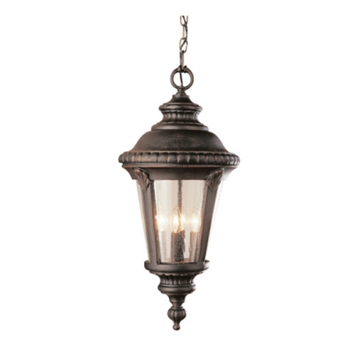 """Commons 22"""" Outdoor Rust Tuscan Hanging Lantern with Braided Crown Trim and Leaf Window Accents"""