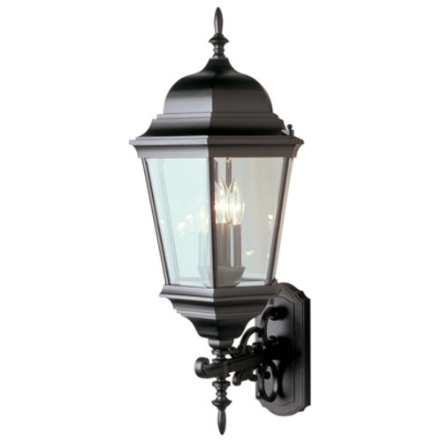 """Classical Collection 29.5"""" Outdoor Black Traditional Wall Lantern with Clear Beveled Glass"""
