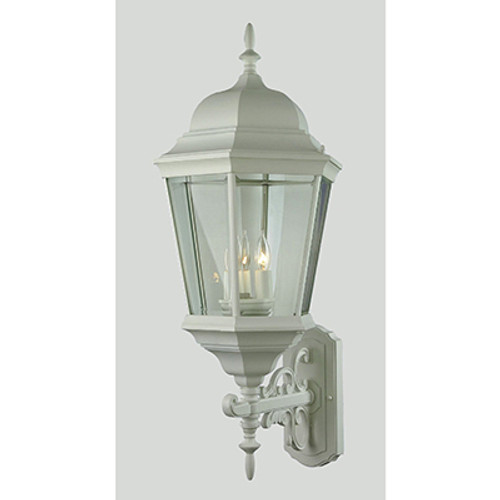 """Classical Collection 29.5"""" Outdoor White Traditional Wall Lantern with Clear Beveled Glass"""