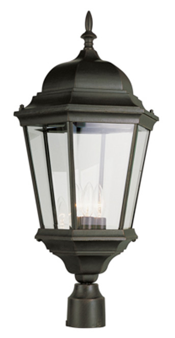 """Classical Collection 26.75"""" Outdoor Black Traditional Postmount Lantern with Clear Beveled Glass"""
