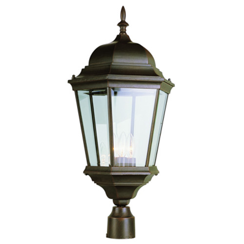"""Classical Collection 26.75"""" Outdoor Rust Traditional Postmount Lantern with Clear Beveled Glass"""