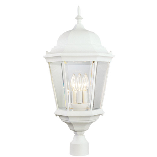 """Classical Collection 26.75"""" Outdoor White Traditional Postmount Lantern with Clear Beveled Glass"""