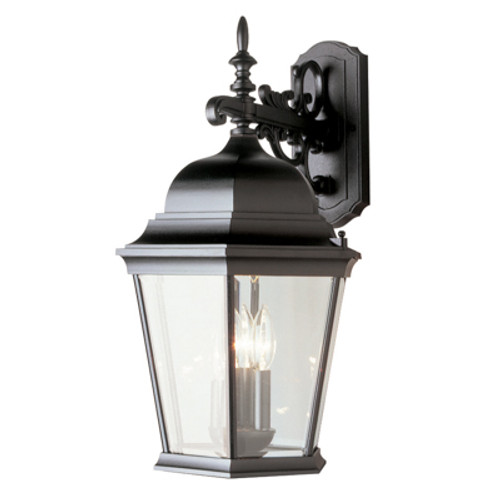 """Classical Collection 22.5"""" Outdoor Black Traditional Wall Lantern with Clear Beveled Glass"""