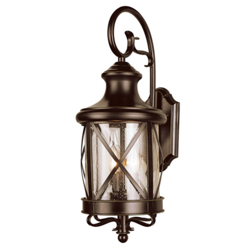 """Chandler 19.5"""" Outdoor Rubbed Oil Bronze Traditional Wall Lantern with Elegant Scroll Arm and Cylindrical Base"""