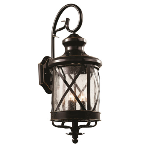 """Chandler 28.75"""" Outdoor Rubbed Oil Bronze Traditional Wall Lantern with Elegant Scroll Arm and Cylindrical Base"""