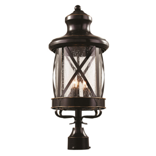 """Chandler 21.75"""" Outdoor Rubbed Oil Bronze Traditional Postmount Lantern with Crossbar Rustic Appeal"""