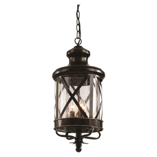 """Chandler 20.5"""" Outdoor Rubbed Oil Bronze Traditional Hanging Lantern with Crossbar Rustic Appeal"""