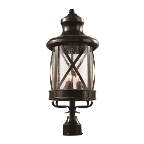 """Chandler 26.5"""" Outdoor Rubbed Oil Bronze Traditional Postmount Lantern with Crossbar Rustic Appeal"""