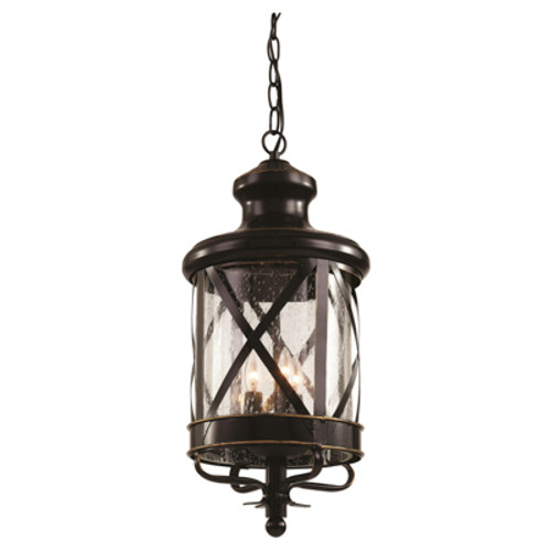"""Chandler 25.25"""" Outdoor Rubbed Oil Bronze Traditional Hanging Lantern with Crossbar Rustic Appeal"""