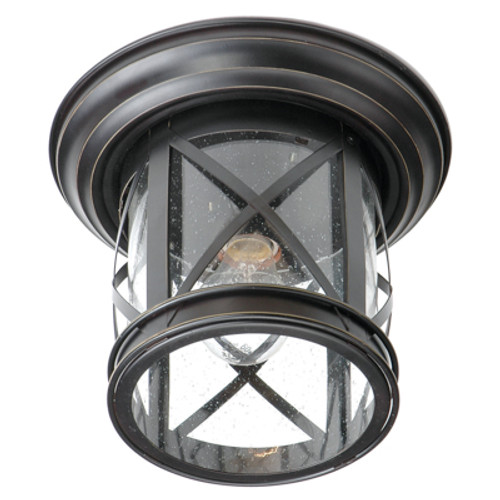 """Chandler 9.5"""" Outdoor Rubbed Oil Bronze Traditional Flushmount Lantern with Crossbar Rustic Appeal"""