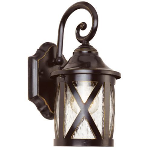 """Chandler 12.75"""" Outdoor Rubbed Oil Bronze Traditional Wall Lantern with Crossbar Rustic Appeal"""