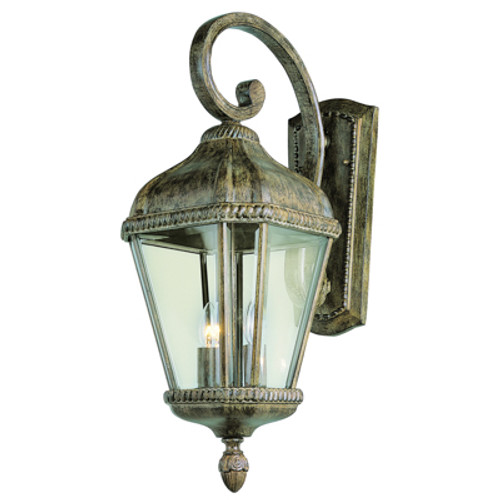 """Covington 22.5"""" Outdoor Burnished Rust Tuscan Wall Lantern with Braided Trim Crown and Clear Beveled Glass"""