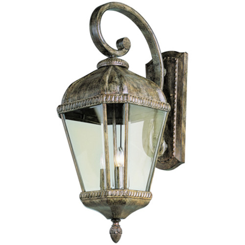"""Covington 27"""" Outdoor Burnished Rust Tuscan Wall Lantern with Braided Trim Crown and Clear Beveled Glass"""