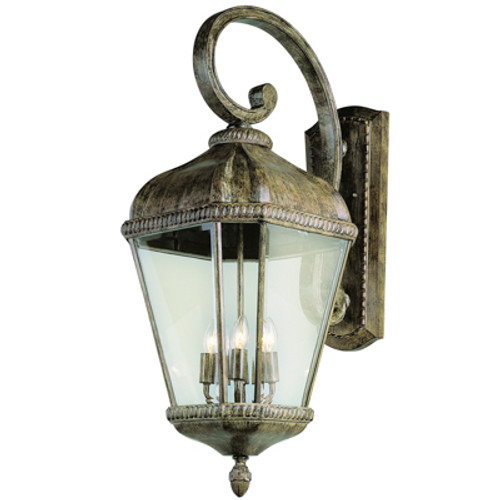 """Covington 32"""" Outdoor Burnished Rust Tuscan Wall Lantern with Braided Trim Crown and Clear Beveled Glass"""
