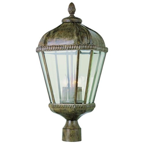 "Trans Globe Lighting 5153 BRT 23"" Outdoor Burnished Rust Tuscan Postmount Lantern"
