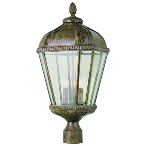"""Covington 23"""" Outdoor Burnished Rust Tuscan Postmount Lantern with Braided Trim Crown and Clear Beveled Glass"""