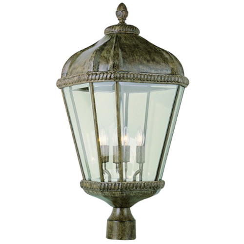 "Trans Globe Lighting 5154 BRT 26.25"" Outdoor Burnished Rust Tuscan Postmount Lantern"