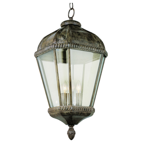 """Covington 22.25"""" Outdoor Burnished Rust Tuscan Hanging Lantern with Braided Trim Crown and Clear Beveled Glass"""