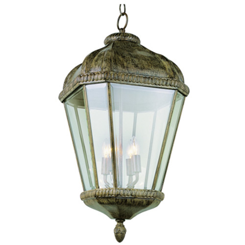 """Covington 25.75"""" Outdoor Burnished Rust Tuscan Hanging Lantern with Braided Trim Crown and Clear Beveled Glass"""