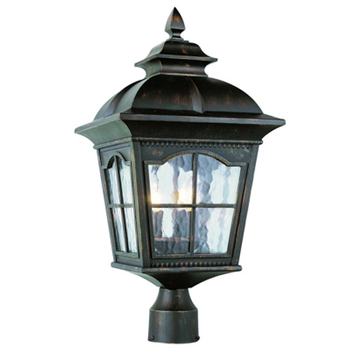 """Briarwood 22.5"""" Outdoor Antique Rust Postmount Lantern with Traditional Arched Window Panes"""