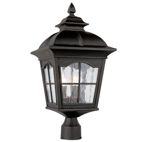 """Briarwood 22.5"""" Outdoor Antique Black Postmount Lantern with Traditional Arched Window Panes"""
