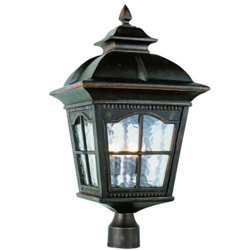 "Trans Globe Lighting 5425 AR 25"" Outdoor Antique Rust Rustic Postmount Lantern"