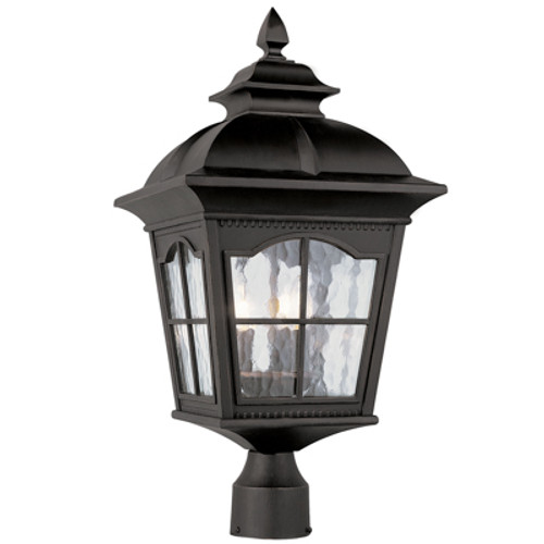 """Briarwood 25"""" Outdoor Antique Black Postmount Lantern with Traditional Arched Window Panes"""