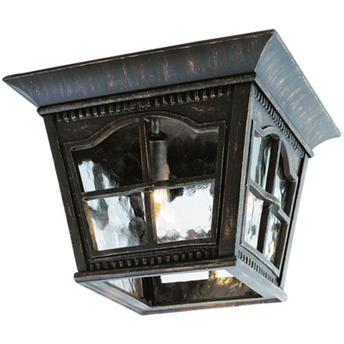 """Briarwood 8"""" Outdoor Antique Rust Flushmount Lantern with Traditional Scalloped Window Panes"""