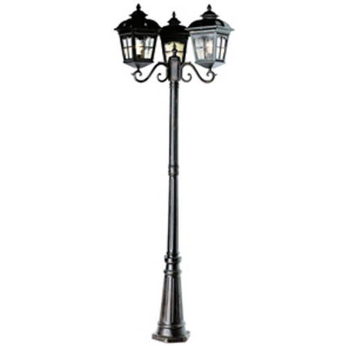 "Briarwood 86"" Outdoor Black Rustic Pole Light with Traditional Scalloped Window Panes"