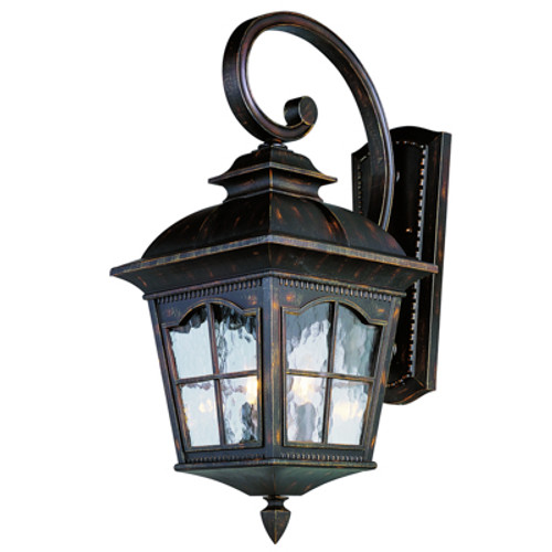 """Briarwood 21.5"""" Outdoor Antique Rust Rustic Wall Lantern with Traditional Scalloped Window Panes"""