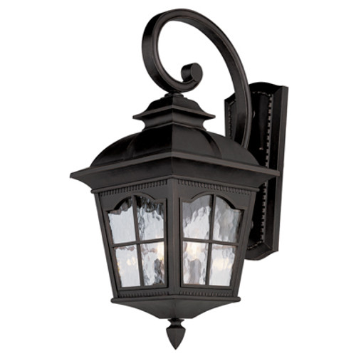"""Briarwood 21.5"""" Outdoor Black Rustic Wall Lantern with Traditional Scalloped Window Panes"""