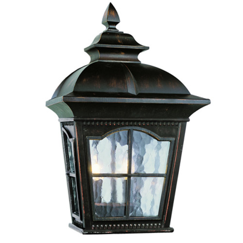 """Briarwood 16"""" Outdoor Antique Rust Rustic Pocket Lantern with Traditional Scalloped Window Panes"""