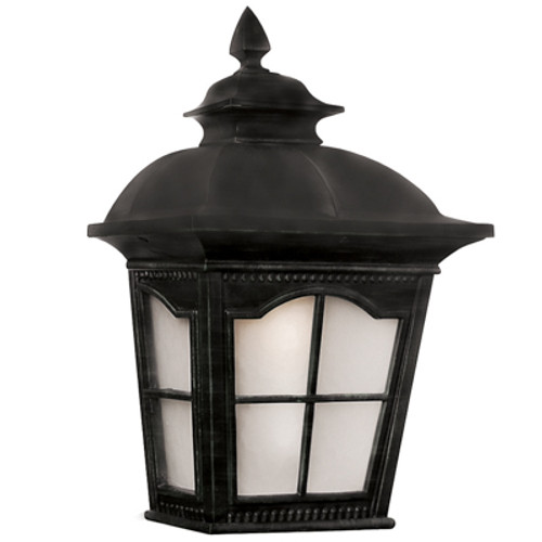 """Briarwood 16"""" Outdoor Black Rustic Pocket Lantern with Traditional Scalloped Window Panes"""