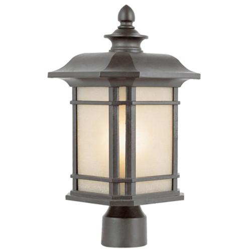 "Trans Globe Lighting 5823 BK 13.5"" Outdoor Black Mission/Craftsman Postmount Lantern"