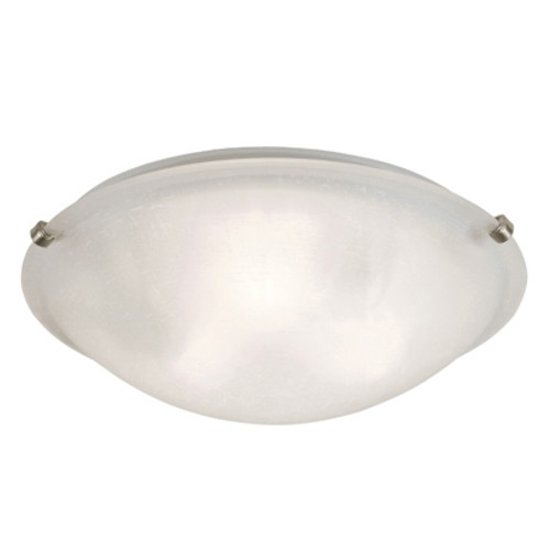 """Constellation 20"""" Indoor Brushed Nickel Transitional Flushmount with Wide Dish Glass Shade and Matching Clips"""