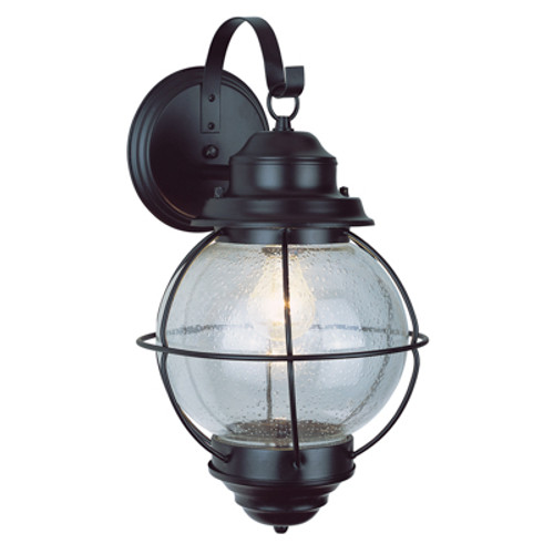 """Catalina 13.5"""" Outdoor Black Nautical Wall Lantern with Round Seeded Glass Design"""