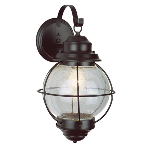 """Catalina 15"""" Outdoor Rustic Bronze Nautical Wall Lantern with Round Seeded Glass Design"""