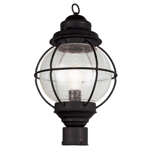 "Catalina 15"" Outdoor Black Nautical Postmount Lantern with Round Seeded Glass Design"