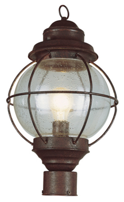 "Catalina 15"" Outdoor Rustic Bronze Nautical Postmount Lantern with Round Seeded Glass Design"