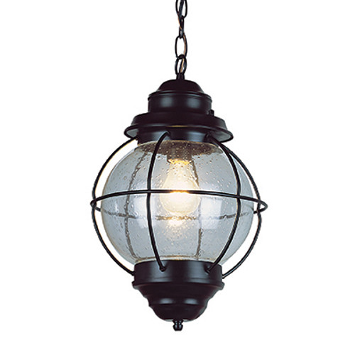 """Catalina 13.5"""" Outdoor Black Nautical Hanging Lantern with Round Seeded Glass Design"""