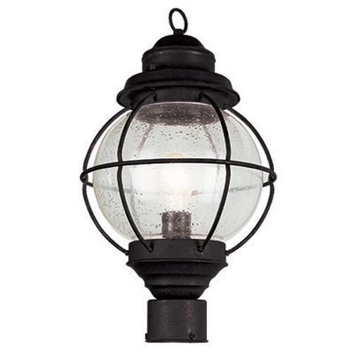"Catalina 19"" Outdoor Black Nautical Postmount Lantern with Round Seeded Glass Design"