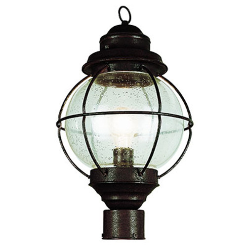 "Catalina 19"" Outdoor Rustic Bronze Nautical Postmount Lantern with Round Seeded Glass Design"